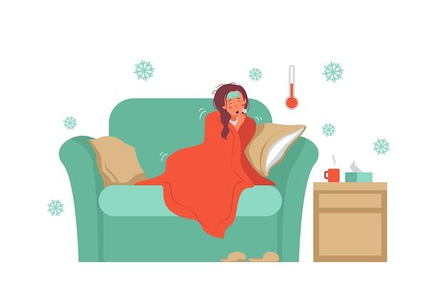 Een persoon met een koude illustratie Gratis Vector
