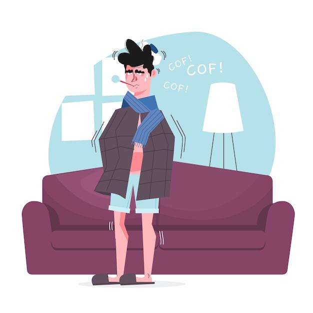 Een persoon met een verkoudheid Gratis Vector