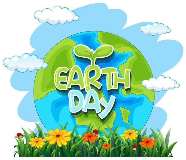 Een pictogram van de aarde dag Gratis Vector