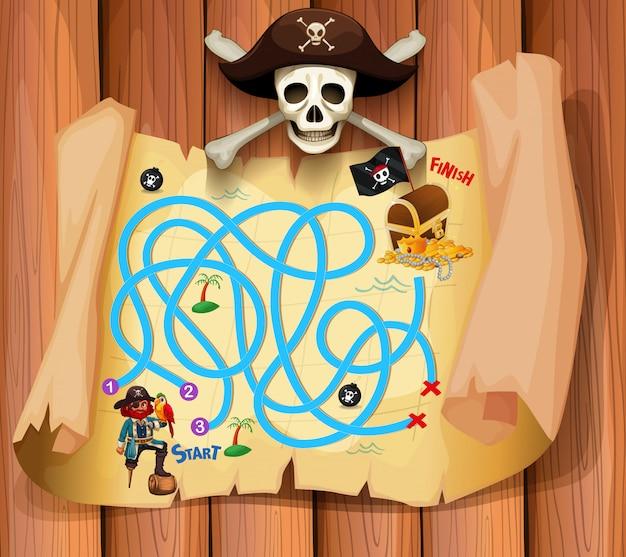 Een piraat maz-spelsjabloon Premium Vector