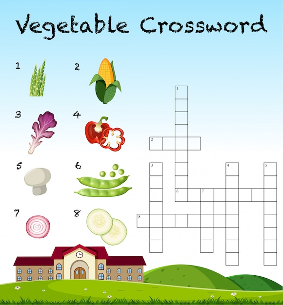 Een plantaardig kruiswoordraadselsjabloon Premium Vector