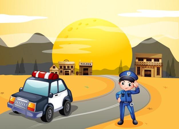 Een politieman op straat Premium Vector