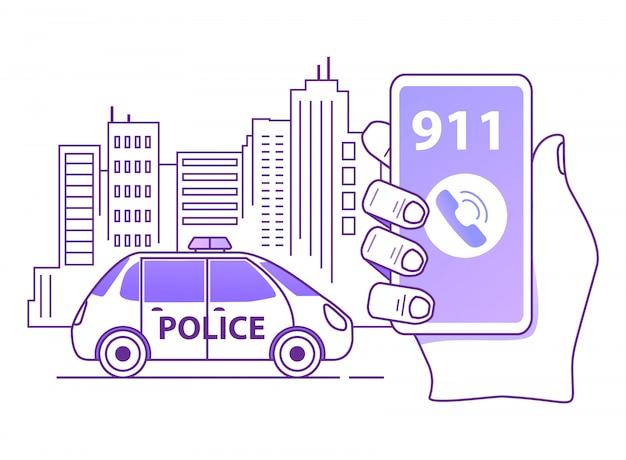 Een politiepatrouille bellen. overzicht hand houdt smartphone. mobiele noodapplicatie. Premium Vector