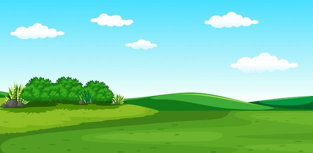 Een prachtig groen landschap Premium Vector