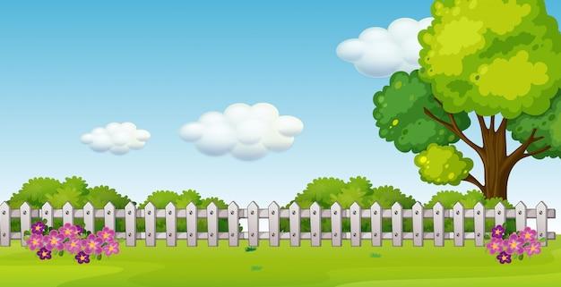Een prachtig tuinlandschap Premium Vector