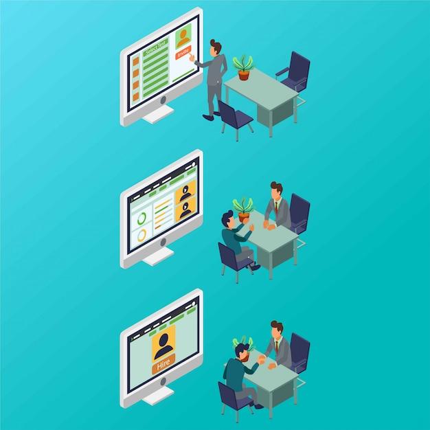 Een proces van personeelsrekrutering door een isometrische illustratie van een hr-manager Premium Vector