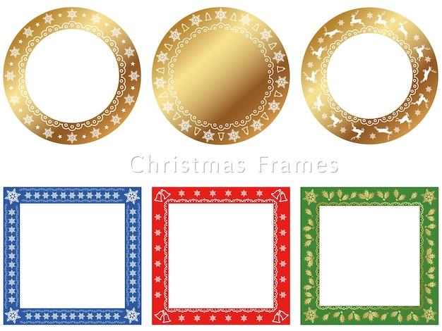 Een reeks geassorteerde frames voor het seizoen van kerstmis Premium Vector