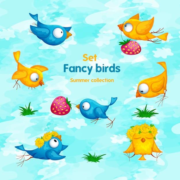Een reeks grappige beeldverhaalvogels met bloemen, een kroon en aardbeien. Premium Vector