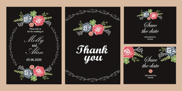 Een reeks kaarten van de huwelijksuitnodiging met rozen malplaatje voor uitnodigingen met zwarte achtergrond. Premium Vector