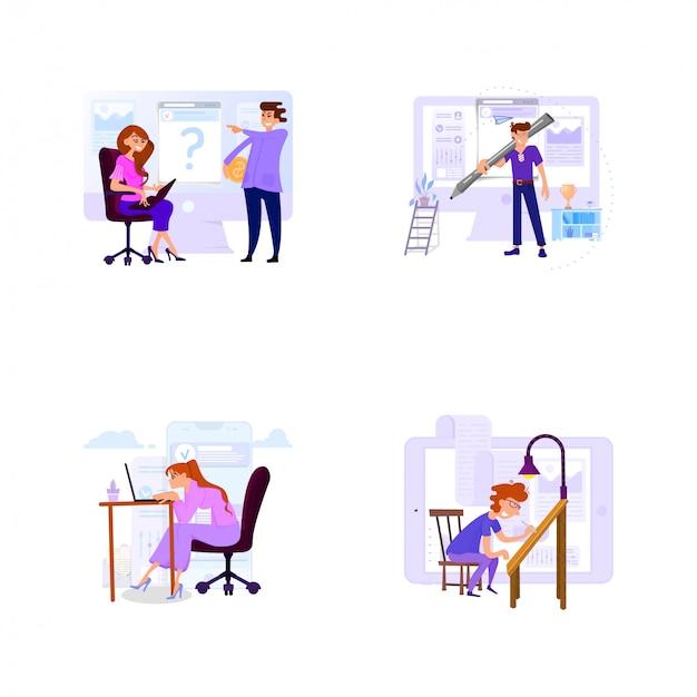 Een reeks zakelijke scènes met kleine mannen en vrouwen op kantoor voor werk en met klanten. Premium Vector