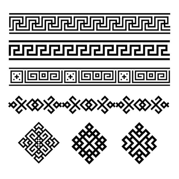 Een reeks zwart-witte geometrische ontwerpen Premium Vector