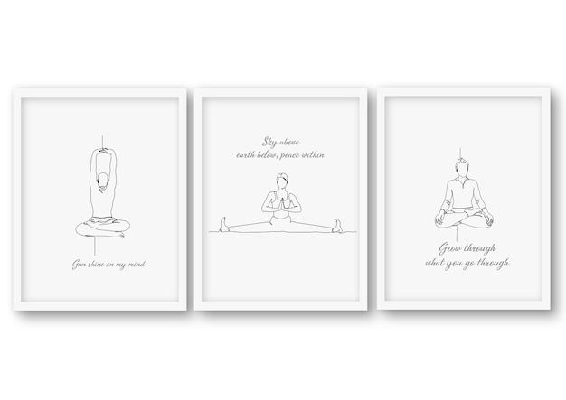 Een regel yoga pose set illustratie Premium Vector