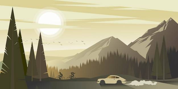 Een reis naar de bergen met de auto op een warme zomeravond Premium Vector