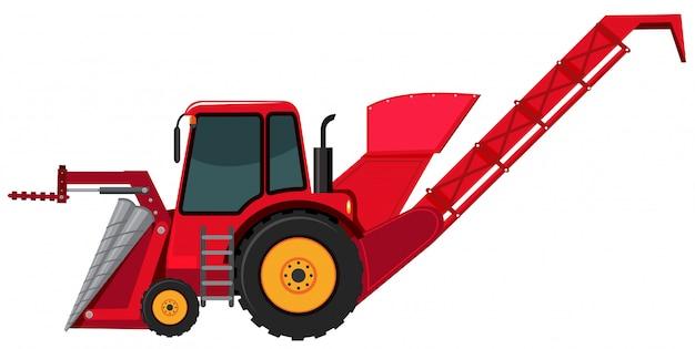 Een rode backhoe op witte achtergrond Premium Vector