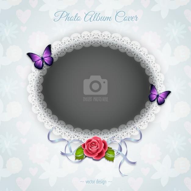 Een romantisch frame met een roos Gratis Vector