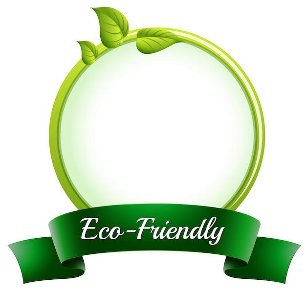 Een ronde lege sjabloon met onderaan een milieuvriendelijk etiket Gratis Vector