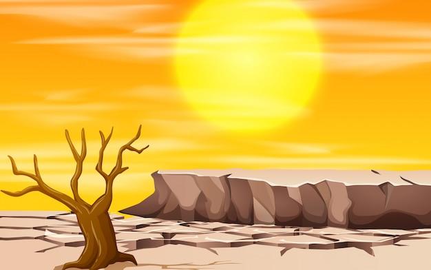 Een scène van het droogtelandschap Gratis Vector