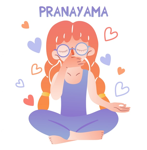 Een schattig meisje met een bril en staartjes zit in een lotushouding en doet ademhalingsoefeningen. belettering pranayama. vingers gevouwen in mudra. meditatief geïsoleerd karakter voor het illustreren van yoga. Premium Vector