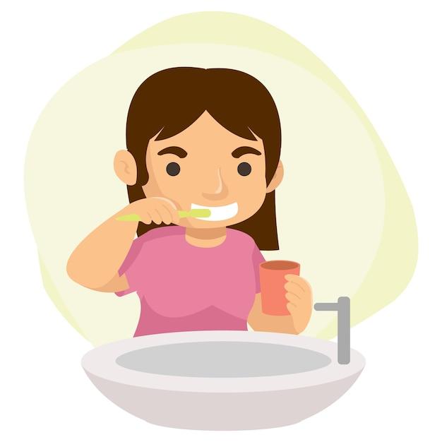 Een schattig tienermeisje poetst haar tanden na elke maaltijd in de badkamer Premium Vector