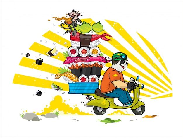 Een schattige cartoonpanda levert aziatisch eten. Premium Vector