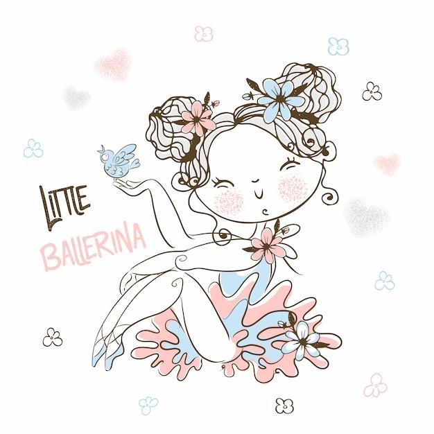Een schattige kleine ballerina in een tutu poseert prachtig. Premium Vector