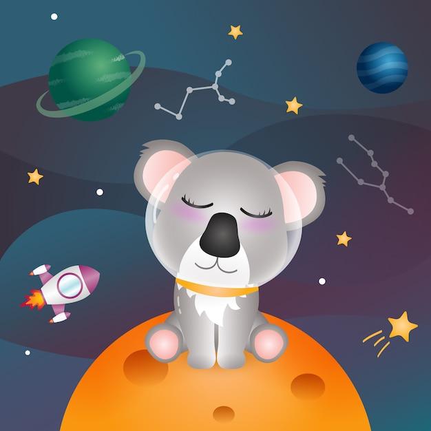Een schattige koala in de ruimtemelkweg Premium Vector