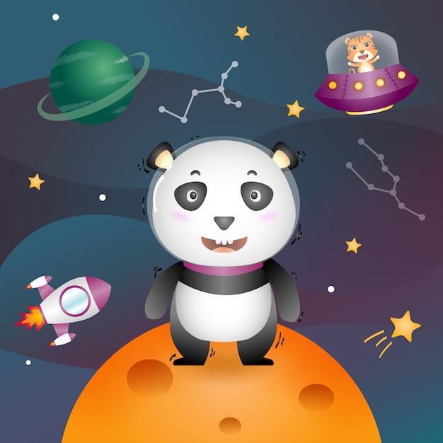 Een schattige panda in de ruimtemelkweg Premium Vector