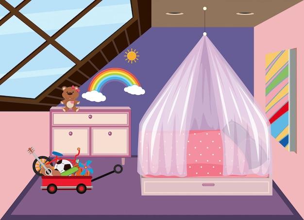 Een schattige slaapkamer op de zolder Premium Vector