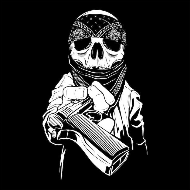 Een schedel die een bandana draagt, overhandigt een pistool Premium Vector
