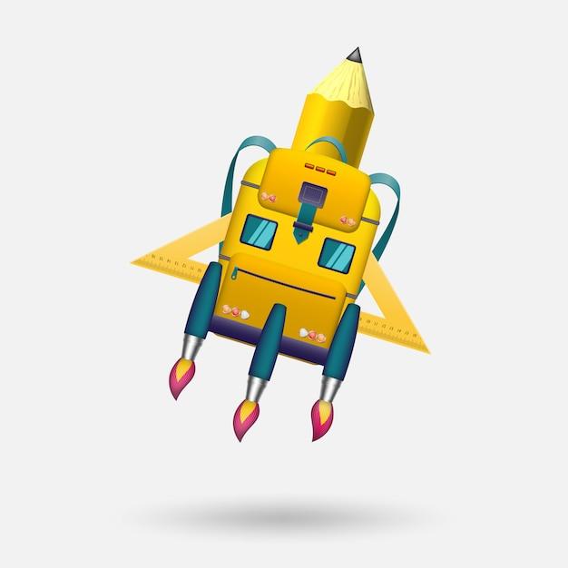 Een schooltas in de vorm van een raket en een schoolbus vertrekt naar nieuwe kennis. Premium Vector
