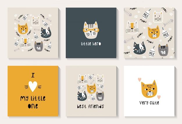Een set ansichtkaarten met een schattige kat Premium Vector