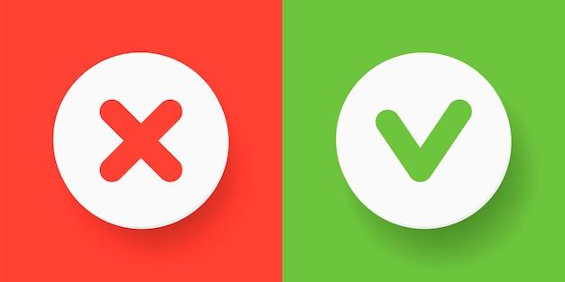 Een set knoppen voor het web - groen vinkje en rood kruis. platte illustraties. platte ronde vorm - bevestigen, fouten maken, goedkeuren, annuleren op rode en groene achtergrond. Premium Vector