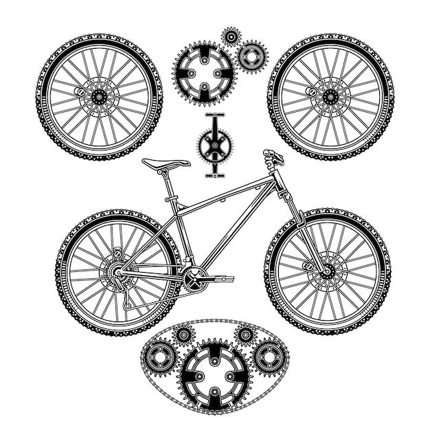 Een set ornamenten voor fietsen en onderdelen Premium Vector