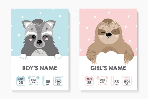Een set posters, lengte, gewicht, geboortedatum. wasbeer, luiaard Premium Vector