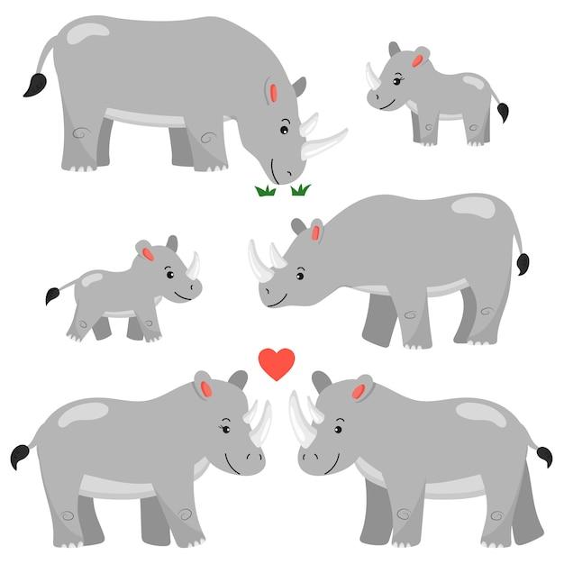 Een set stripfiguren neushoorns. geïsoleerd. afrikaanse dieren. rhinos familie. Premium Vector