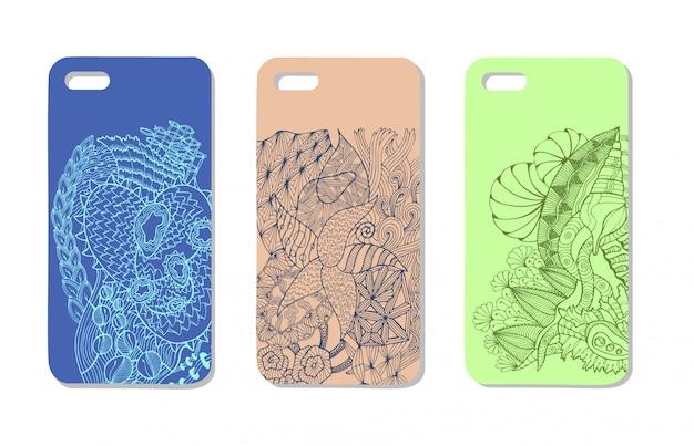 Een set van drie mobiele telefoonhoesjes. vector achtergrond in zentanglestijl. handgetekende elementen. Premium Vector