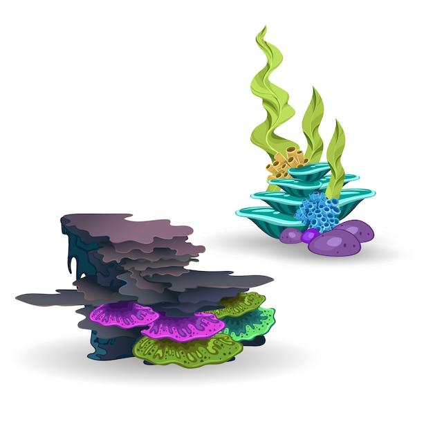 Een set van koralen en algen Premium Vector