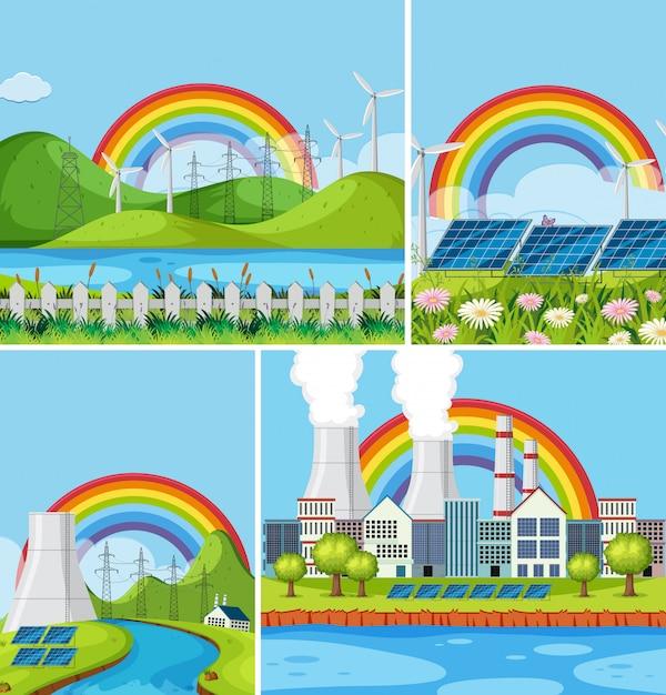 Een set van natuurlijke energiecentrale landschap Premium Vector