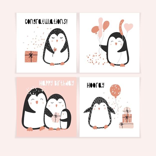 Een set van schattige ansichtkaarten met pinguïns Premium Vector