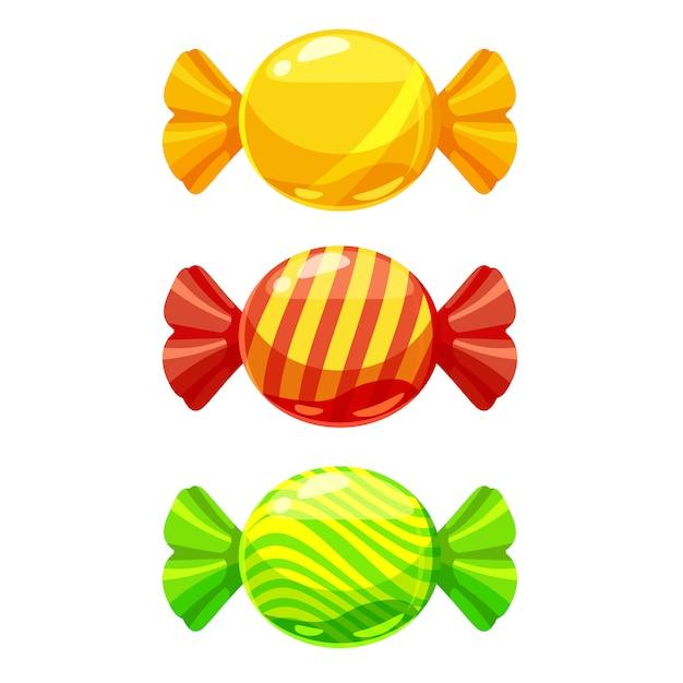 Een set zoete snoepjes in een pakket met verschillende kleuren Premium Vector