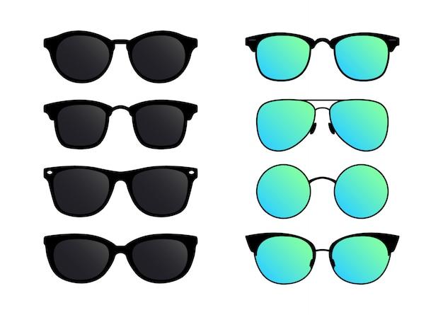 Een set zonnebrillen. bril in vlakke stijl. Premium Vector