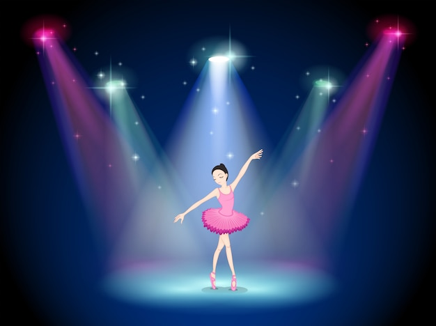 Een sierlijke ballerina in het midden van het podium Premium Vector