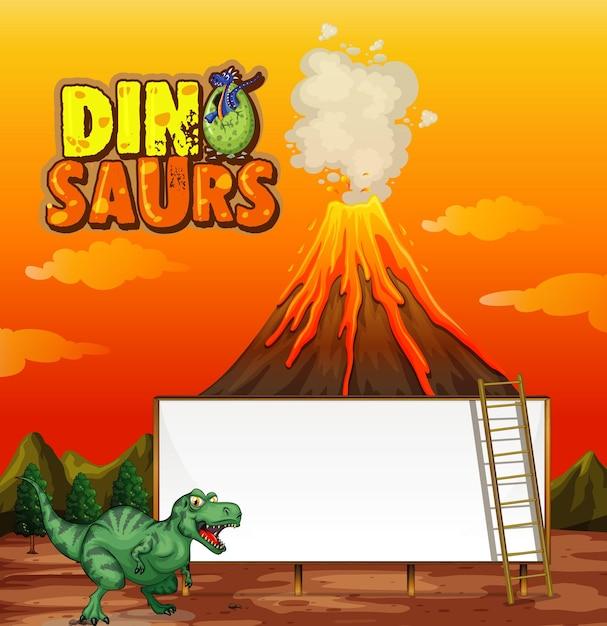 Een sjabloon voor spandoek van een dinosaurus in de natuurscène Gratis Vector