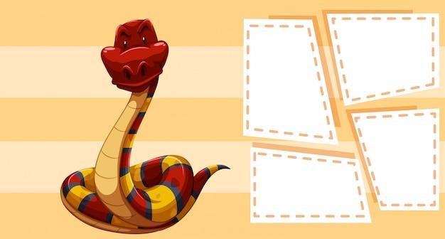 Een slang op notitiesjabloon Gratis Vector