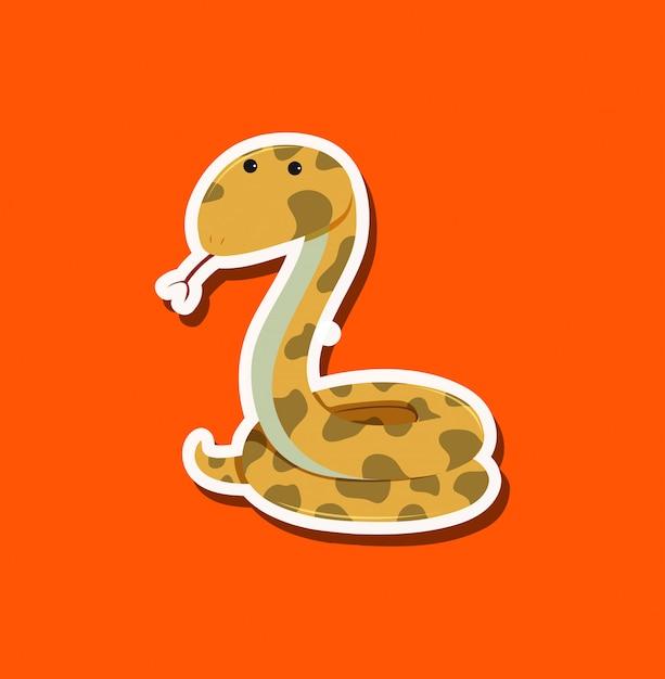 Een slangkarakter op oranje achtergrond Premium Vector
