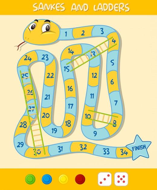 Een snake ladder game sjabloon Premium Vector