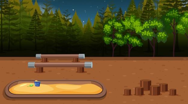 Een speelplaatsscène bij nacht Gratis Vector