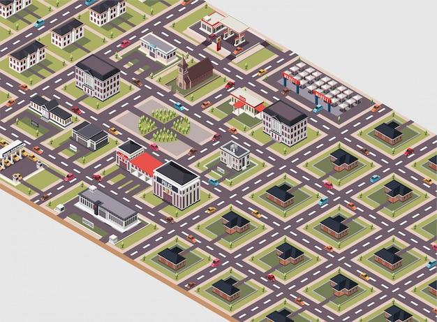 Een stadslay-out met verschillende soorten gebouwen isometrische illustratie Premium Vector