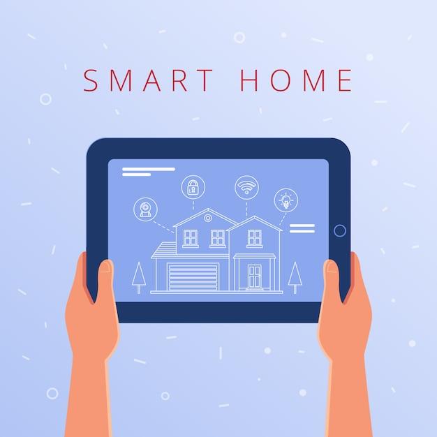Een tablet met smart home-instellingen en controllersysteem. Premium Vector