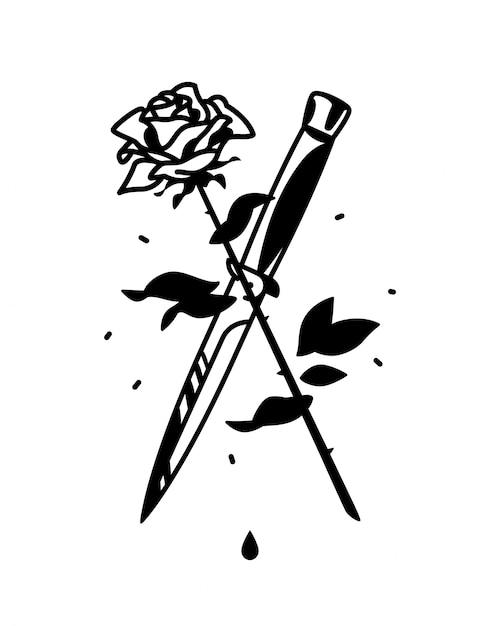 Een tattoo met een mes en een roos Premium Vector
